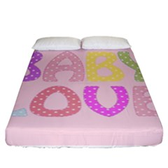 Pink Baby Love Text In Colorful Polka Dots Fitted Sheet (king Size) by Simbadda