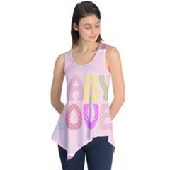 Pink Baby Love Text In Colorful Polka Dots Sleeveless Tunic by Simbadda