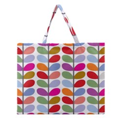 Colorful Bright Leaf Pattern Background Zipper Large Tote Bag by Simbadda