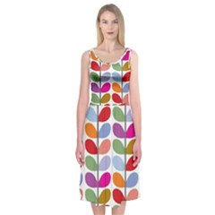 Colorful Bright Leaf Pattern Background Midi Sleeveless Dress