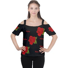 Red Rose Women s Cutout Shoulder Tee by pixiedust