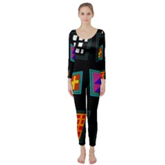 Abstract A Colorful Modern Illustration Long Sleeve Catsuit
