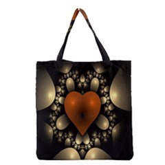 Fractal Of A Red Heart Surrounded By Beige Ball Grocery Tote Bag