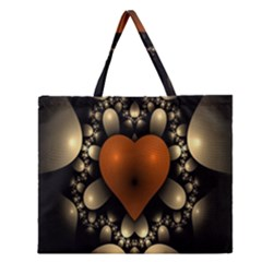 Fractal Of A Red Heart Surrounded By Beige Ball Zipper Large Tote Bag by Simbadda
