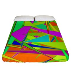 Background With Colorful Triangles Fitted Sheet (queen Size) by Simbadda