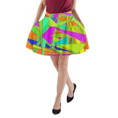 Background With Colorful Triangles A Line Pocket Skirt by Simbadda
