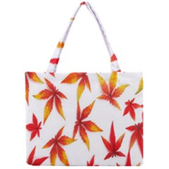 Colorful Autumn Leaves On White Background Mini Tote Bag by Simbadda
