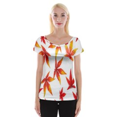 Colorful Autumn Leaves On White Background Women s Cap Sleeve Top by Simbadda