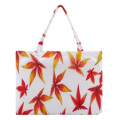 Colorful Autumn Leaves On White Background Medium Tote Bag by Simbadda
