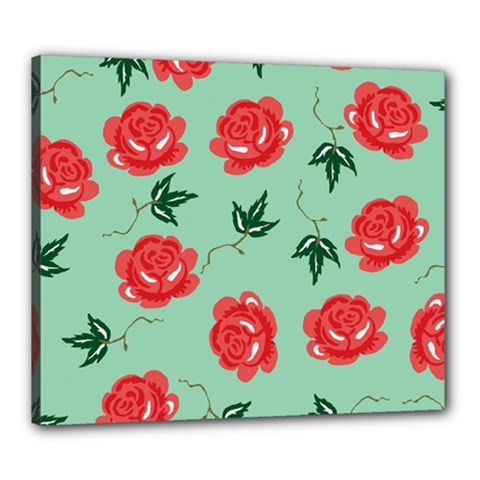 Floral Roses Wallpaper Red Pattern Background Seamless Illustration Canvas 24  X 20