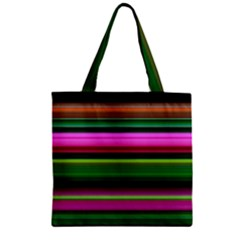 Multi Colored Stripes Background Wallpaper Zipper Grocery Tote Bag by Simbadda