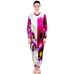 Pink Purple And White Flower Bouquet Onepiece Jumpsuit (ladies)