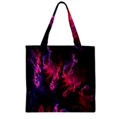 Abstract Fractal Background Wallpaper Zipper Grocery Tote Bag by Simbadda