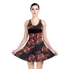 Fractal Chocolate Balls On Black Background Reversible Skater Dress