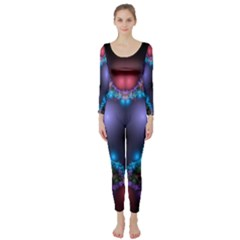 Blue Heart Fractal Image With Help From A Script Long Sleeve Catsuit by Simbadda