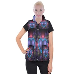 Blue Heart Fractal Image With Help From A Script Women s Button Up Puffer Vest by Simbadda