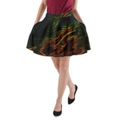 Abstract Glowing Edges A Line Pocket Skirt by Simbadda
