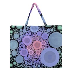 An Abstract Background Consisting Of Pastel Colored Circle Zipper Large Tote Bag by Simbadda