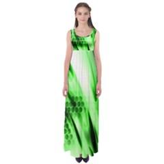 Abstract Background Green Empire Waist Maxi Dress