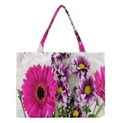 Purple White Flower Bouquet Medium Tote Bag by Simbadda