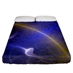 Fractal Magic Flames In 3d Glass Frame Fitted Sheet (king Size)