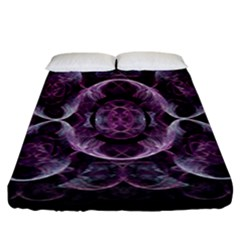 Fractal In Lovely Swirls Of Purple And Blue Fitted Sheet (king Size) by Simbadda