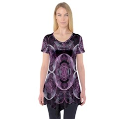 Fractal In Lovely Swirls Of Purple And Blue Short Sleeve Tunic  by Simbadda