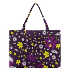 Flowers Floral Background Colorful Vintage Retro Busy Wallpaper Medium Tote Bag by Simbadda