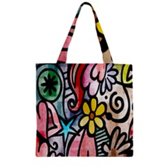 Digitally Painted Abstract Doodle Texture Zipper Grocery Tote Bag by Simbadda