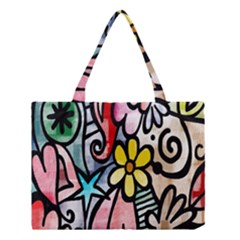 Digitally Painted Abstract Doodle Texture Medium Tote Bag by Simbadda