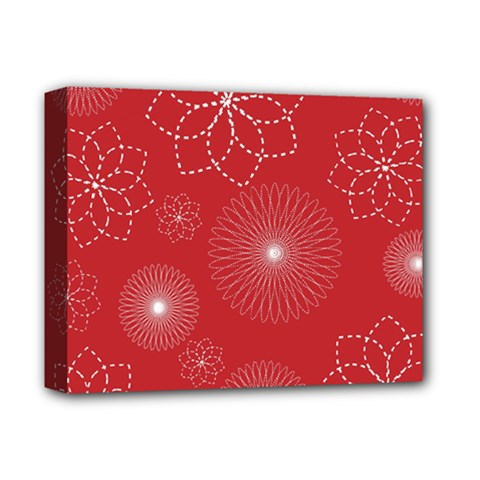 Floral Spirals Wallpaper Background Red Pattern Deluxe Canvas 14  X 11  by Simbadda