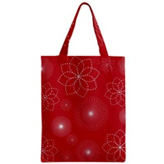Floral Spirals Wallpaper Background Red Pattern Zipper Classic Tote Bag by Simbadda