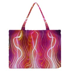 Fire Flames Abstract Background Medium Zipper Tote Bag by Simbadda