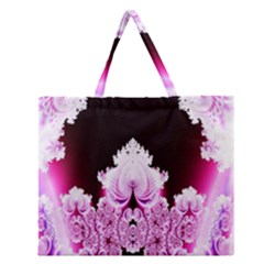 Fractal In Pink Lovely Zipper Large Tote Bag by Simbadda