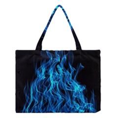 Digitally Created Blue Flames Of Fire Medium Tote Bag by Simbadda