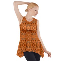 Orange With Black Pagan Pentacles Wiccan Side Drop Tank Tunic by cheekywitch