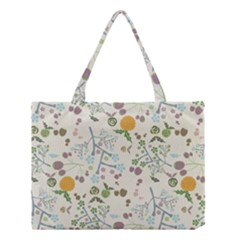 Floral Kraft Seamless Pattern Medium Tote Bag by Simbadda