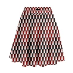 Squares Red Background High Waist Skirt by Simbadda