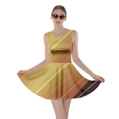Diagonal Color Fractal Stripes In 3d Glass Frame Skater Dress