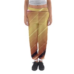 Diagonal Color Fractal Stripes In 3d Glass Frame Women s Jogger Sweatpants by Simbadda