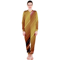 Diagonal Color Fractal Stripes In 3d Glass Frame Onepiece Jumpsuit (ladies)