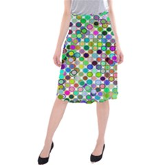 Colorful Dots Balls On White Background Midi Beach Skirt