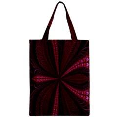 Red Ribbon Effect Newtonian Fractal Zipper Classic Tote Bag by Simbadda