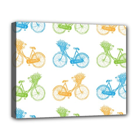 Vintage Bikes With Basket Of Flowers Colorful Wallpaper Background Illustration Deluxe Canvas 20  X 16   by Simbadda