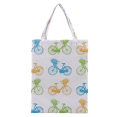 Vintage Bikes With Basket Of Flowers Colorful Wallpaper Background Illustration Classic Tote Bag by Simbadda