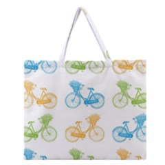 Vintage Bikes With Basket Of Flowers Colorful Wallpaper Background Illustration Zipper Large Tote Bag by Simbadda