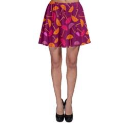 Umbrella Seamless Pattern Pink Lila Skater Skirt by Simbadda