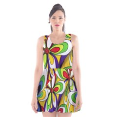 Colorful Textile Background Scoop Neck Skater Dress by Simbadda