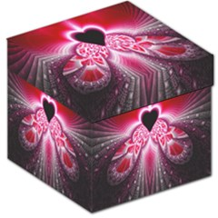 Illuminated Red Hear Red Heart Background With Light Effects Storage Stool 12