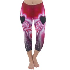Illuminated Red Hear Red Heart Background With Light Effects Capri Winter Leggings  by Simbadda